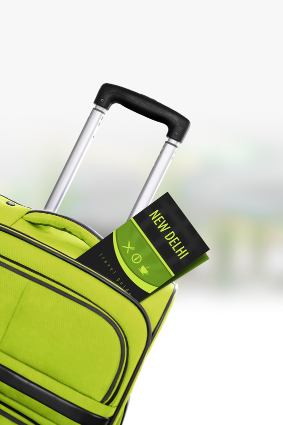 New Delhi. Green suitcase with guidebook.